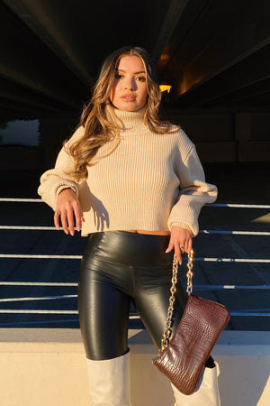 Dorinda Tan Turtleneck Crop Sweater