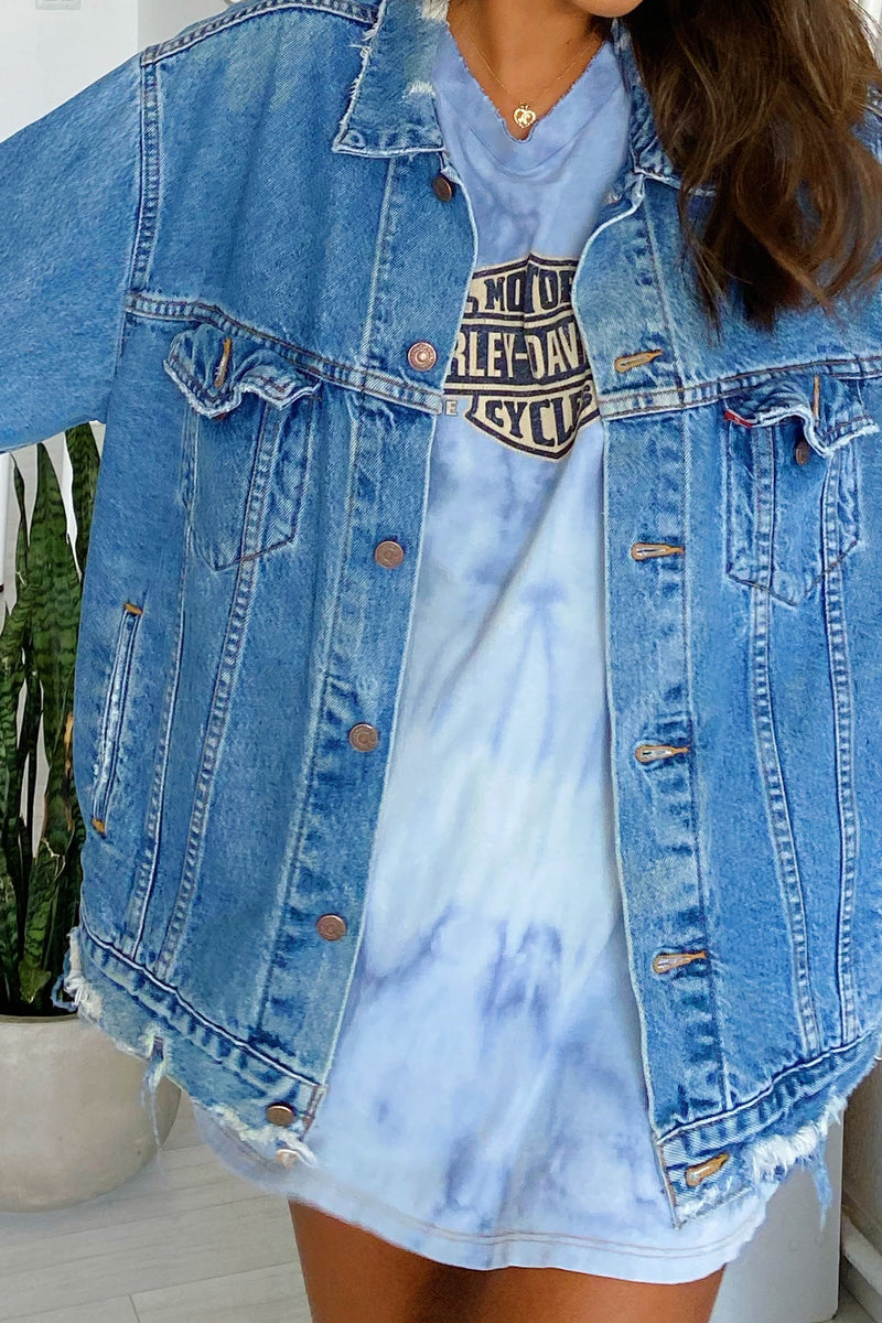 Twin Flame Medium Wash Vintage Distressed Denim Jacket