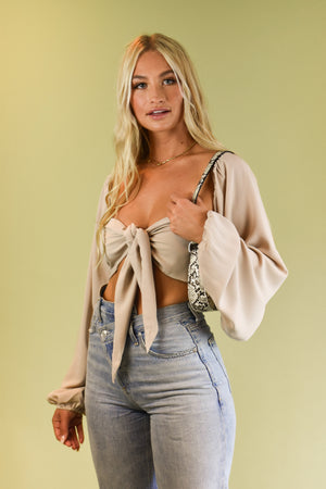 Venice Beach Nude Long Sleeve Tie Front Top
