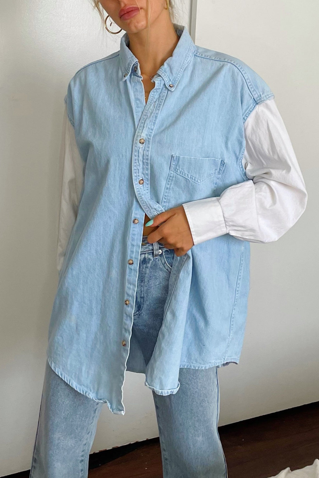 Liam White and Denim Vintage Button Up Shirt