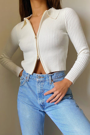 RESTOCKED: Zip It White Long Sleeve Knit Top