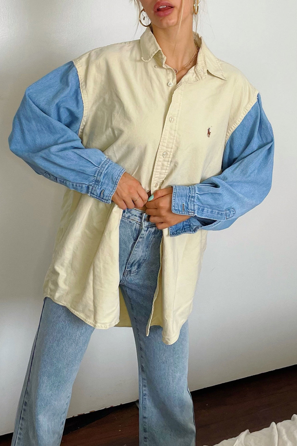 Owen Pale Yellow and Denim Vintage Button Up Shirt