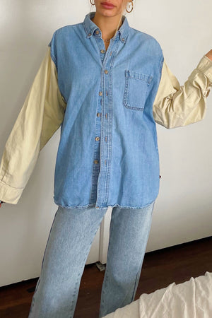 Aidan Pale Yellow and Denim Vintage Button Up Shirt