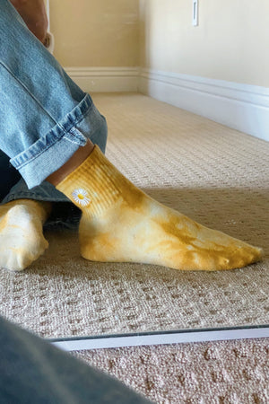 Groovy Mood Yellow Tie Dye Socks