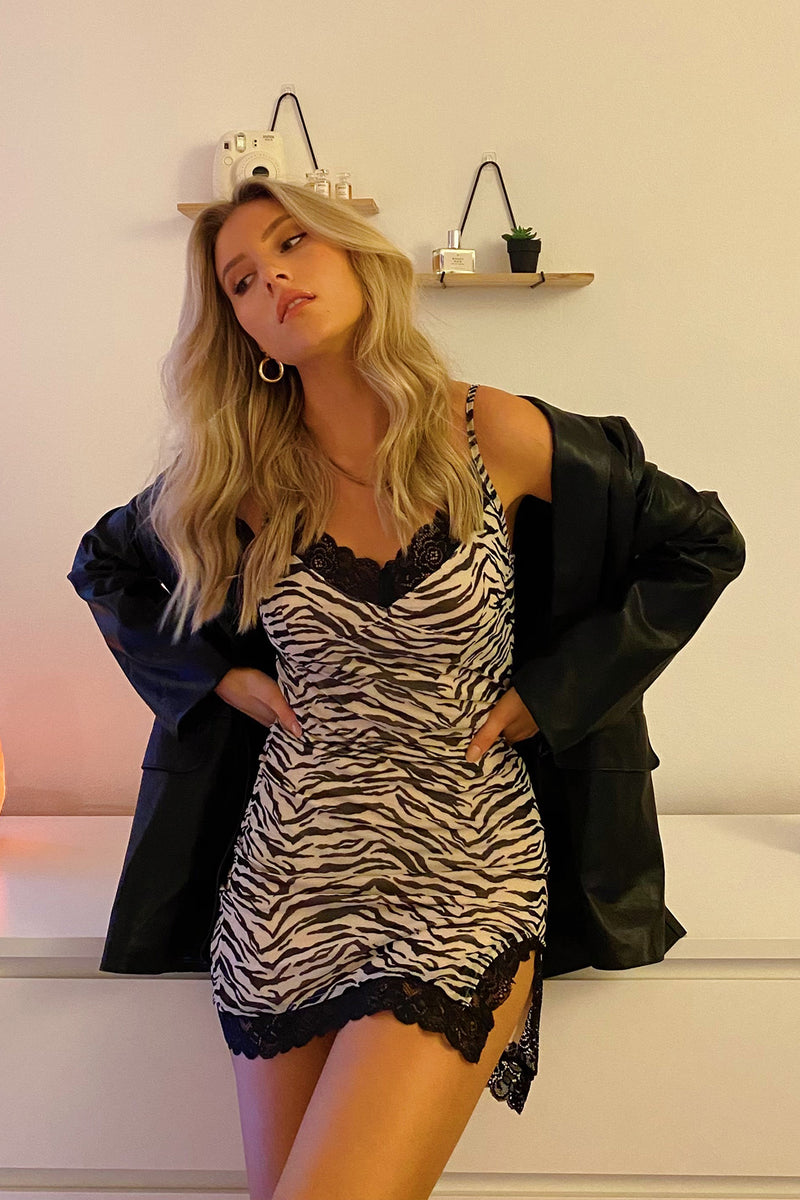 Earn Your Stripes Zebra Mesh Mini Dress