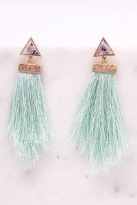 Semi Precious Stone Tassel Earrings