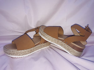 Tan Ankle Strap Sandals