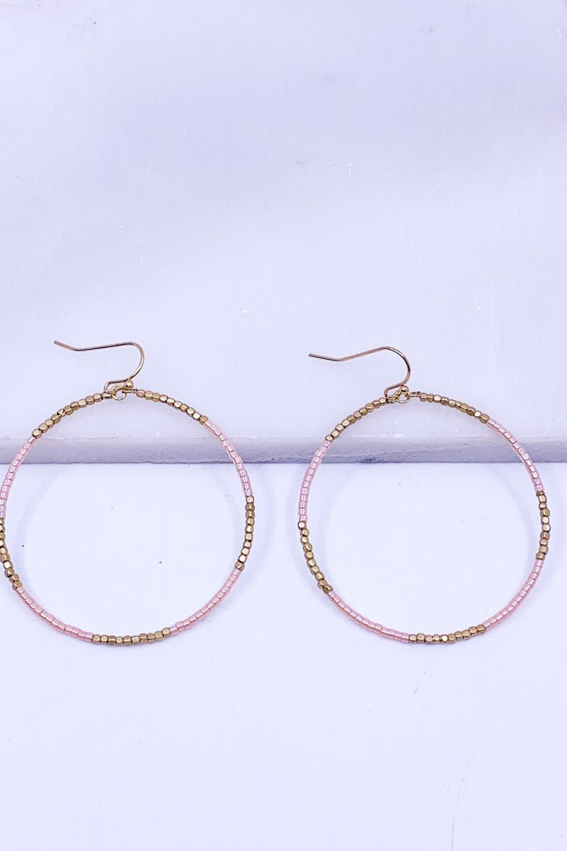 Glass and Gold Beaded Hoop Drop Earrings