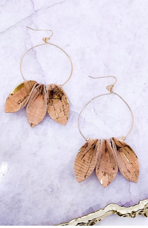 Cork/Gold Petal Hoops
