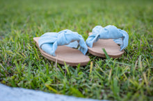 Load image into Gallery viewer, Light Denim Twisted Knot Sandals