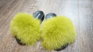 Slime Green Faux Fur Slides at Lauren Love Collection