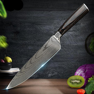 Kitchen Knives - Damascus Knife 8 Inch Japanese High Carbon Stainless Steel