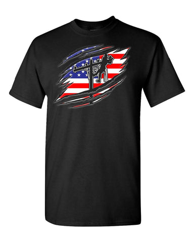 Design on front with American Flag and Lineman, LineCrew shield on left sleeve.