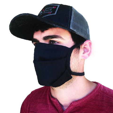 All black Jean material fire retardant Mask, Mask ties in the back