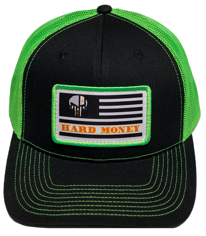 Black Hat, lime green mesh on back, hard money patch hat with American flag and skull.