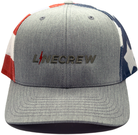 "American Flag on mesh backing and gray front with gray ""LineCrew"" and red bolt as the i in linecrew, USA Richardson 112"