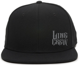 Black flat bill hat with gray linecrew in bottom left front panel