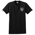 Front of Shirt is black with white linecrew logo on left chest