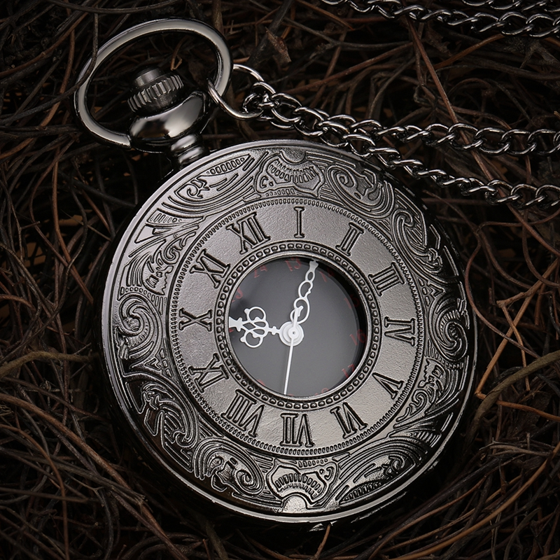 Black Roman Steampunk Quartz Demi Pocket Watch