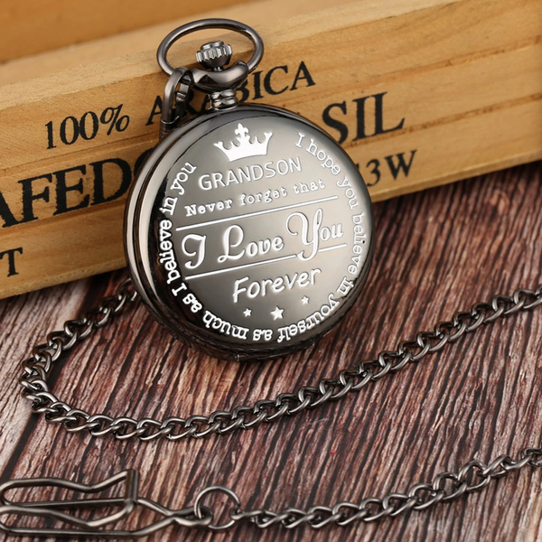 """To My Grandson"" Black Pocket Watch"
