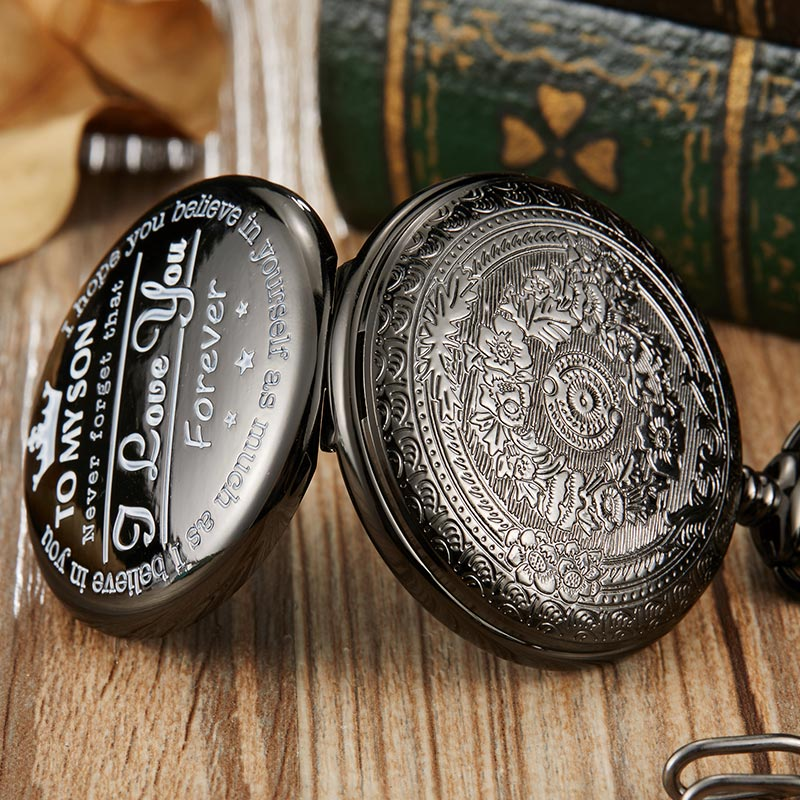 """To My Son"" Black Pocket Watch"
