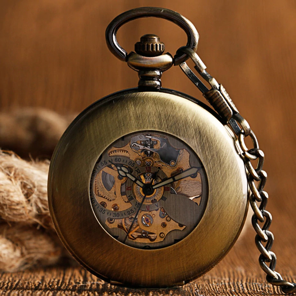 Retro Bronze Mechanical Demi Pocket Watch