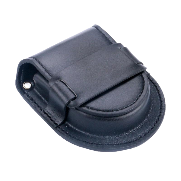 Black Smooth Leather Strap Pouch