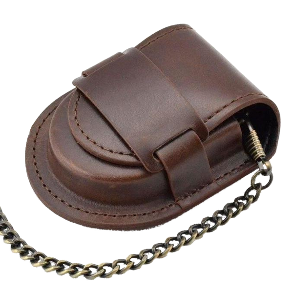 Brown Smooth Leather Strap Pouch
