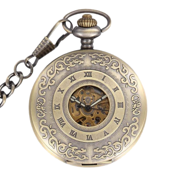 Engraved Bronze Mechanical Demi Pocket Watch