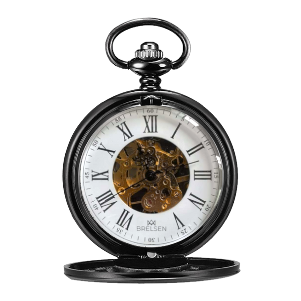 Onyx Black Double Hunter Mechanical Pocket Watch