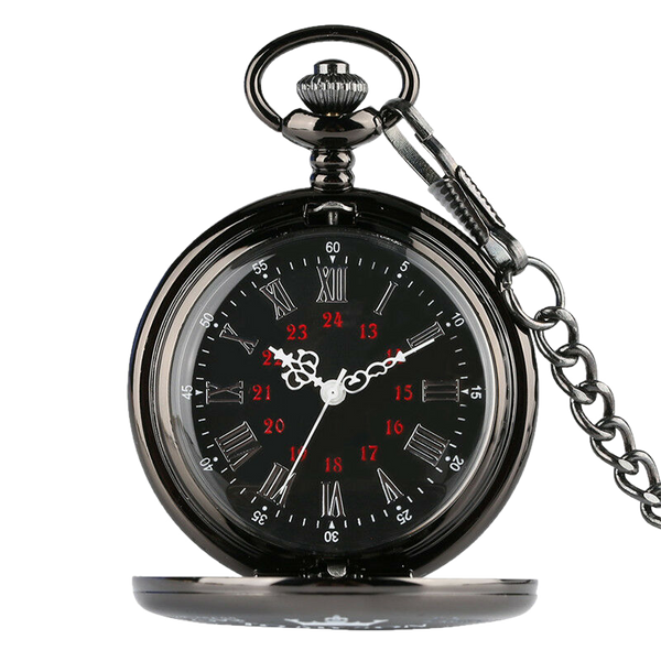 Perfect Black Roman Quartz Pocket Watch