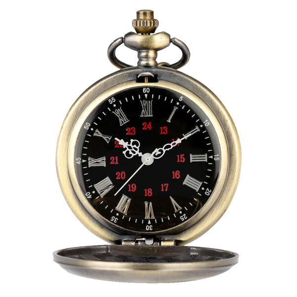Retro Bronze Roman Quartz Pocket Watch