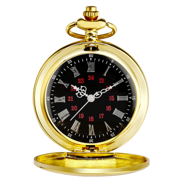 Rich Gold Roman Quartz Pocket Watch
