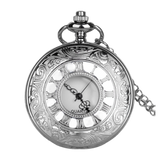 Silver Analog Quartz Engraved Demi Pocket Watch