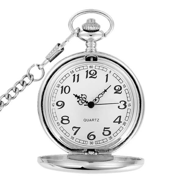 Sleek Silver Analog Quartz Pocket Watch