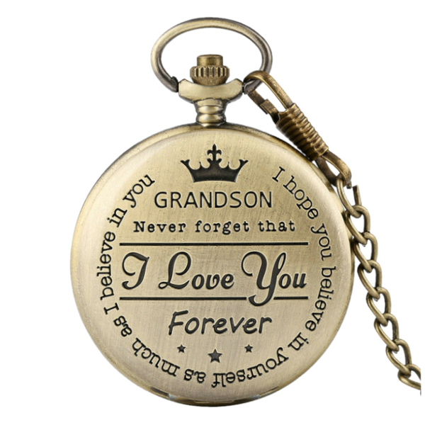 """To My Grandson"" Bronze Pocket Watch"