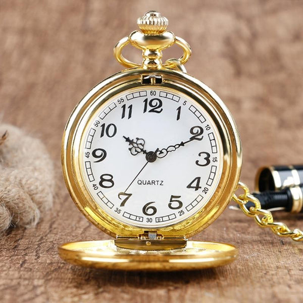 Rich Gold Analog Quartz Pocket Watch