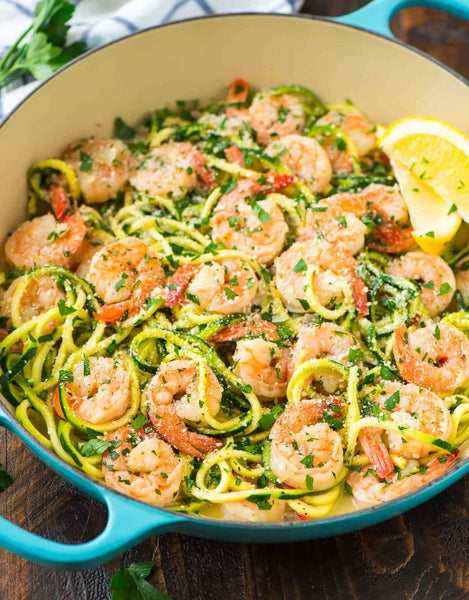 Creamy Shrimp Scampi over Zoodles