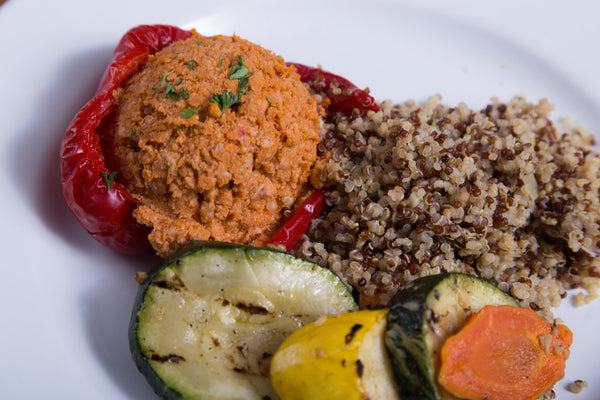 Chicken & Quinoa Stuffed Bell Peppers