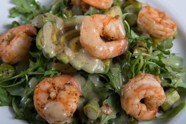 Blackened Shrimp Avocado Asparagus Salad