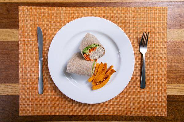 Spicy Tuna Wrap with Carrot Fries