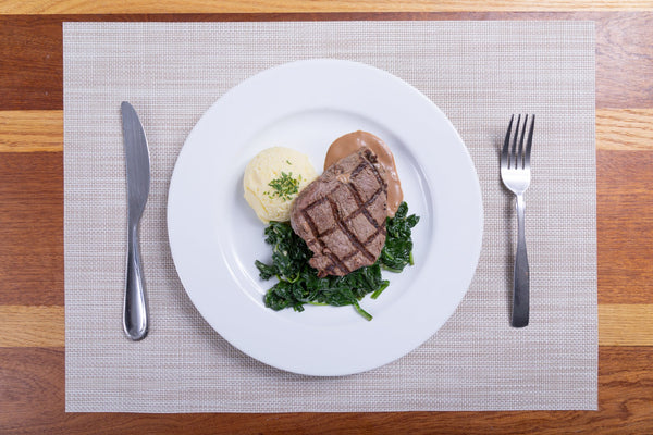 New York Steak with Parmesan Mash