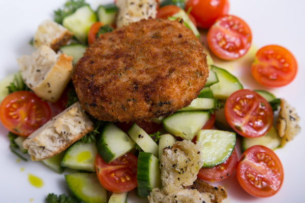Panzanella Salad with Salmon Cakes
