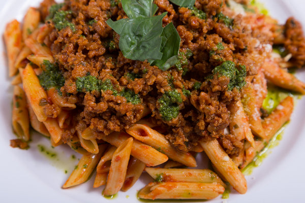 Vegan Bolognese over Chickpea Penne