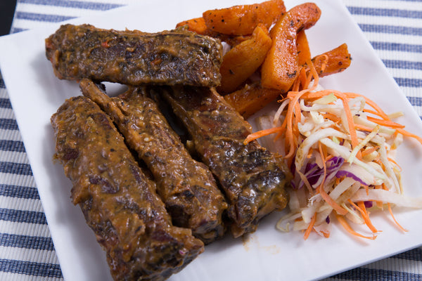 Guava BBQ Ribs with Butternut Squash Fries & Jicama Slaw