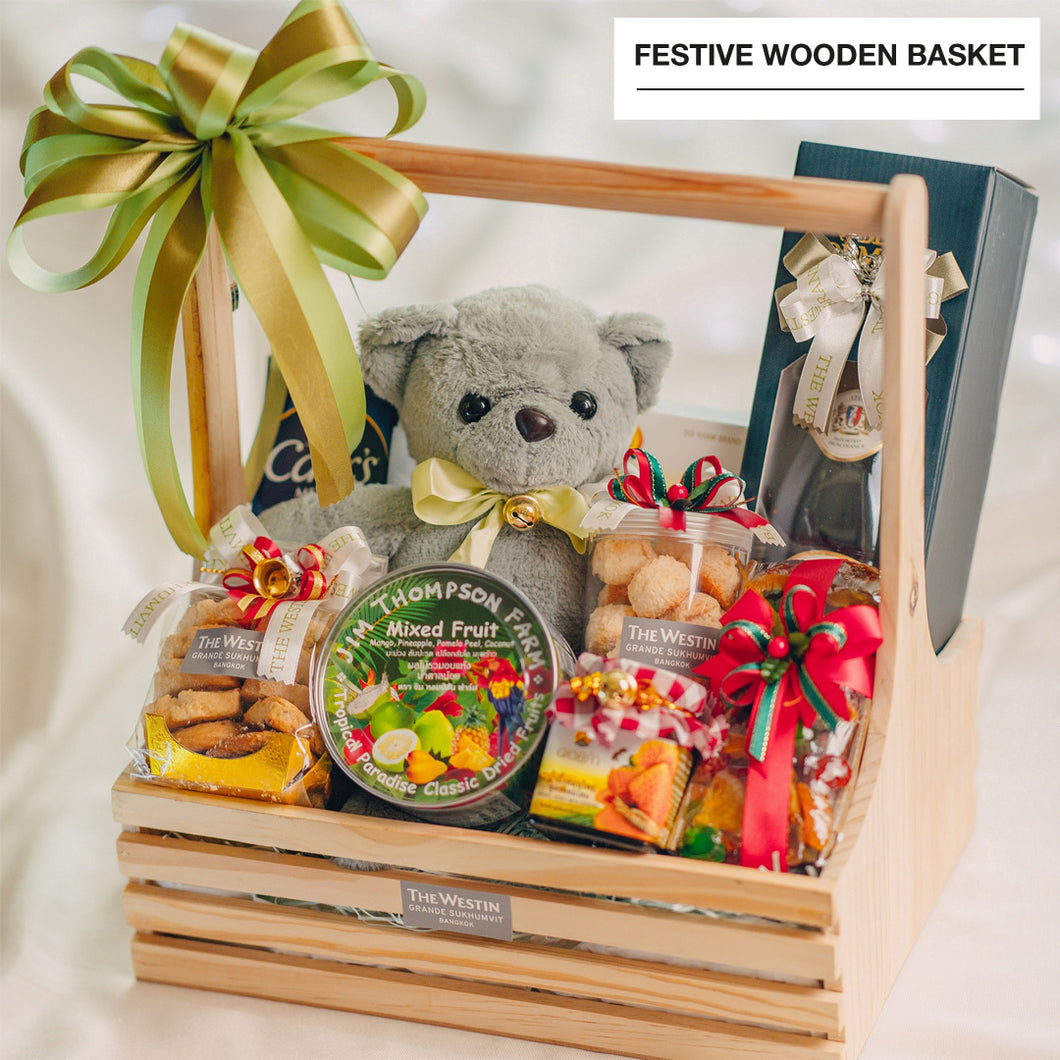Festive Wooden Basket