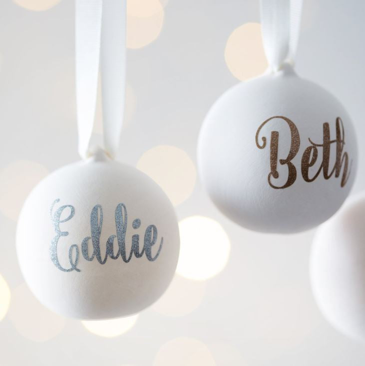 Personalized Ceramic Tree Ornament / Bauble - Harrow and Green USA