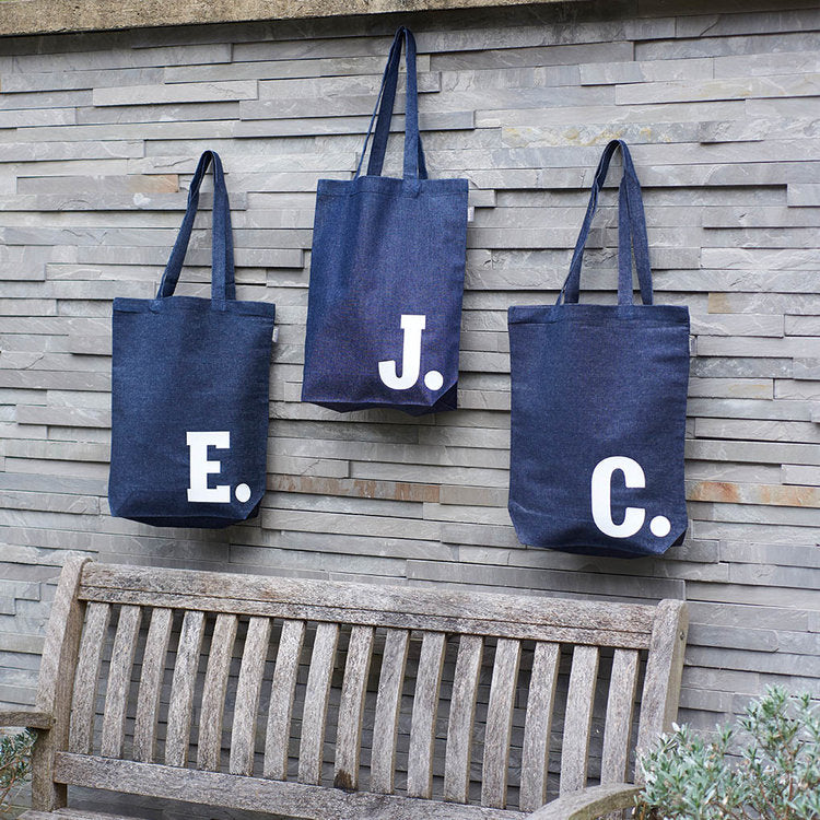 Load image into Gallery viewer, Personalised Initial Denim Tote Bag - Harrow and Green