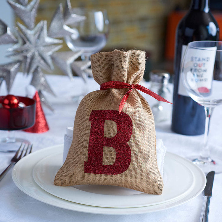 Christmas Mini Sack with Glitter Initial - Harrow and Green