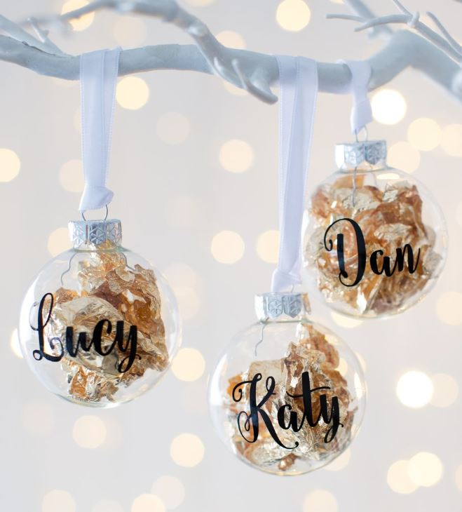 Customized Gold leaf Tree Ornament / Bauble - Harrow and Green